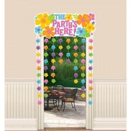 Door Curtain Hibiscus The Party's Here