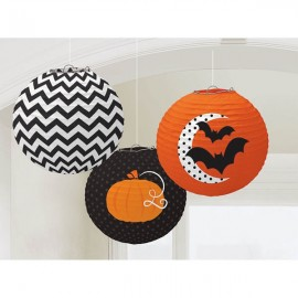Lanterns Modern Halloween Chevron - Pumpkin Moon & Bats