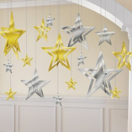 Hanging Decoration Stars Gold & Silver Foil
