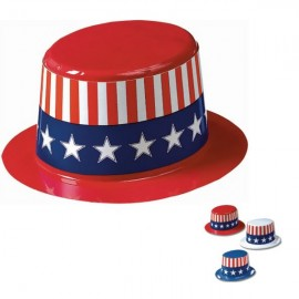 Hat Patriotic Top Hat Plastic &  Paper Band USA