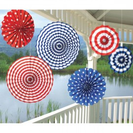 Paper Fans Summer Red White & Blue