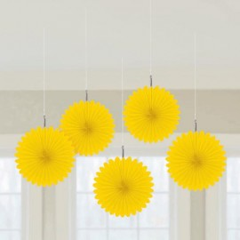 Mini Hanging Fan Decorations Yellow