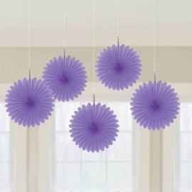 Mini Hanging Fan Decorations Purple