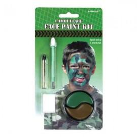 Camouflage Face Paint, Black Crayon & Applicators