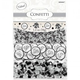 Confetti True Love Damask Black,White & Silver Value Pack