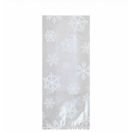 Cello Bags Snowflakes Large White & Clear