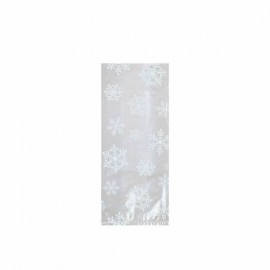 Cello Bags Snowflakes Small White & Clear
