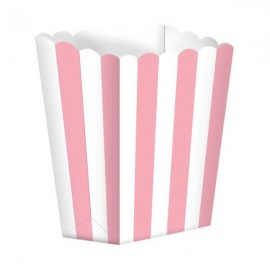 Favor Party  Boxes Pink & White Stripes