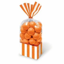 Favor Cello Party Bags Orange Peel & White Stripes