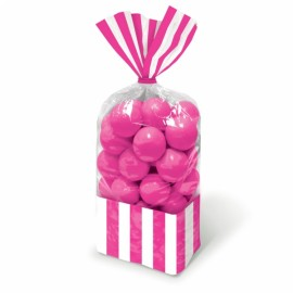 Favor Cello Party Bags Bright Pink & White Stripes