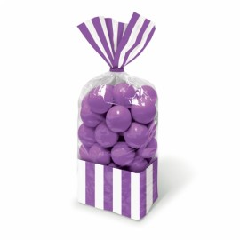 Favor Cello Party Bags Purple & White Stripes