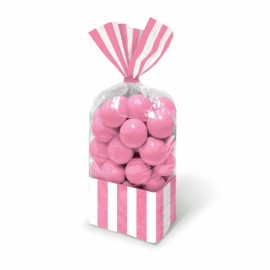 Favor Cello Party Bags Pink & White Stripes