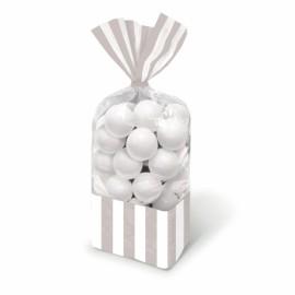 Favor Cello Party Bags Silver & White Stripes