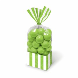 Favor Cello Party Bags Kiwi Green & White Stripes