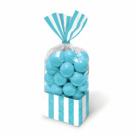 Favor Cello Party Bags Caribbean Blue & White Stripes