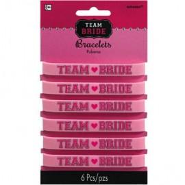 Team Bride Rubber Bracelets Pink