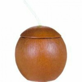 Coconut Shaped Cup with Straw