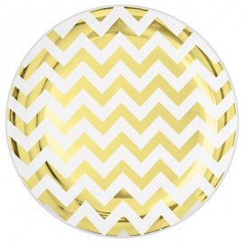 Banquet Plates Chevron Gold Hot Stamped