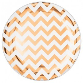 Banquet Plates Chevron Rose Gold Hot Stamped