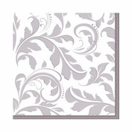Lunch Napkins Silver Elegant Scroll