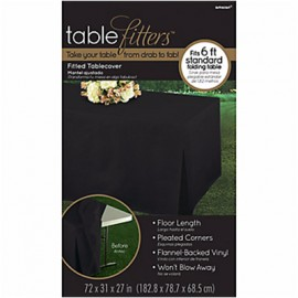 Tablecover Black Tablefitter Flannel Backed Vinyl