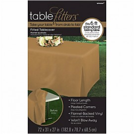 Tablecover Gold Tablefitter Flannel Backed Vinyl