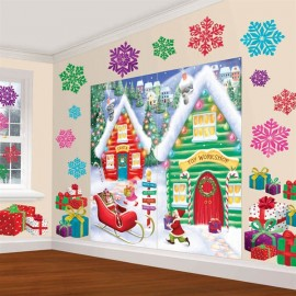 North Pole Scene Setter Decorating Wall Kit