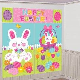 Happy Easter Scene Setter Wall Decorating Kit