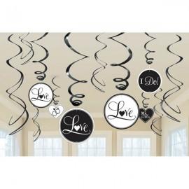 Bridal Hanging Swirls Black & White  Mr & Mrs