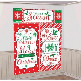 Merry Christmas Messages Scene Setter Wall Decorating Kit