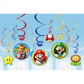 Super Mario Brothers Hanging Swirls Decorations Value Pack
