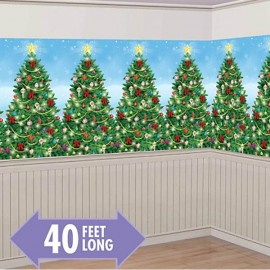 Evergreen Christmas Scene Setter Room Roll