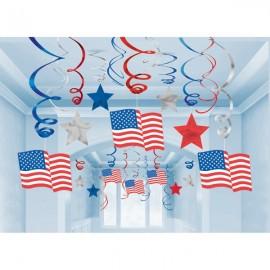 Hanging Decoration Swirls Patriotic  American Flag