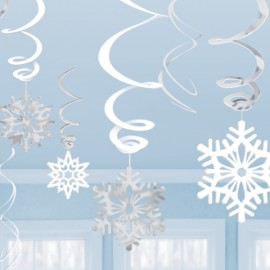 Hanging Swirls Snowflakes Value Pack White & Silver
