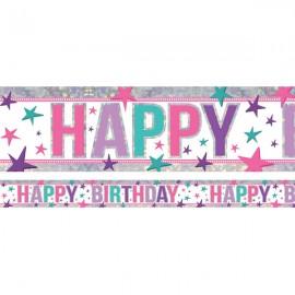 Banner Happy Birthday Pink Design Foil