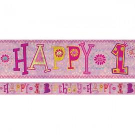 Banner Happy 1st Birthday Girl Design Foil