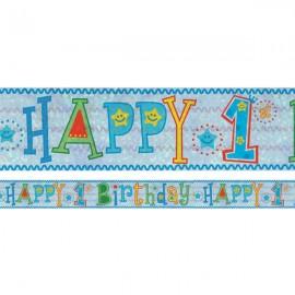 Banner Happy 1st Birthday Boy Design Foil