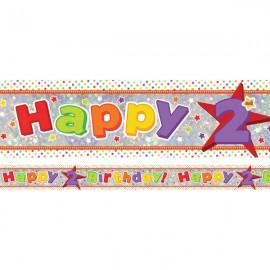 Banner Happy 2nd Birthday Foil