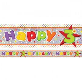 Banner Happy 3rd Birthday Foil