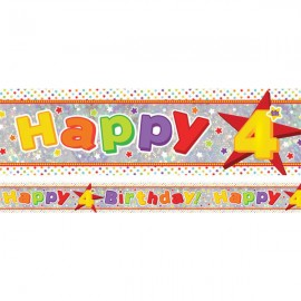 Banner Happy 4th Birthday Foil