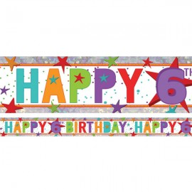Banner Happy 6th Birthday Foil