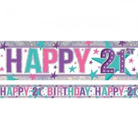 Banner Happy 21st Birthday Girl Design Foil