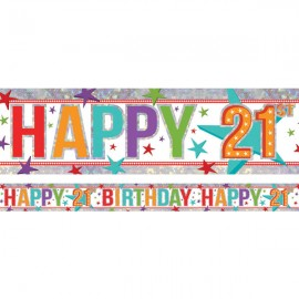 Banner Happy 21st Birthday Foil