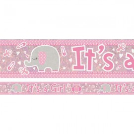Banner It's a Girl Animals & Pins Design Foil