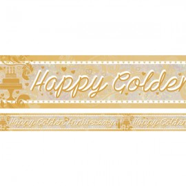 Banner Happy Golden 50th Anniversary Foil