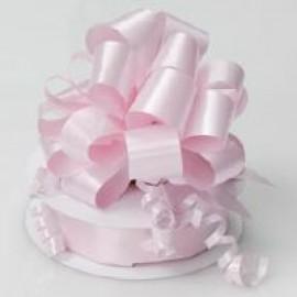 Pull String Bows P/Satin Baby Pink