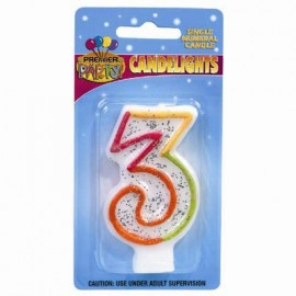 Candlelights Numeral 3 Rainbow