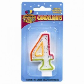 Candlelights Numeral 4 Rainbow