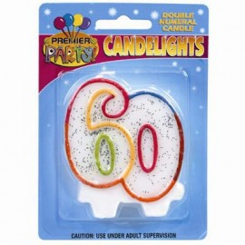 Candlelights Double Numeral 60 Rainbow