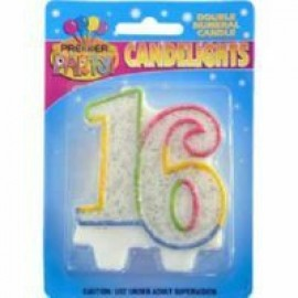Candlelights Double Numeral 16 Rainbow